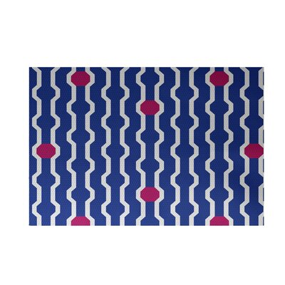 Severt Decorative Holiday Geometric Print Royal Blue Indoor/Outdoor Area Rug Rug Size: 4 x 6