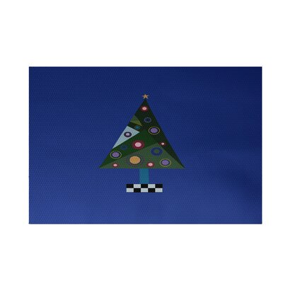Crazy Christmas Decorative Holiday Print Royal Blue Indoor/Outdoor Area Rug Rug Size: Rectangle 3' x 5'