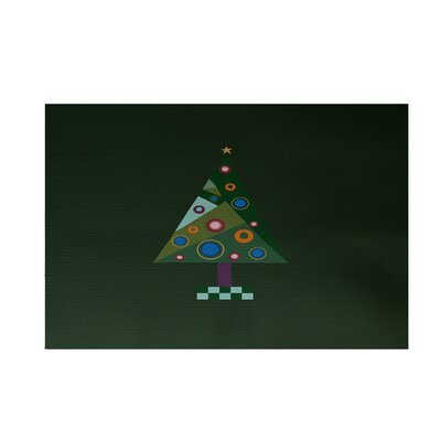 Crazy Christmas Decorative Holiday Print Dark Green Indoor/Outdoor Area Rug Rug Size: 2 x 3