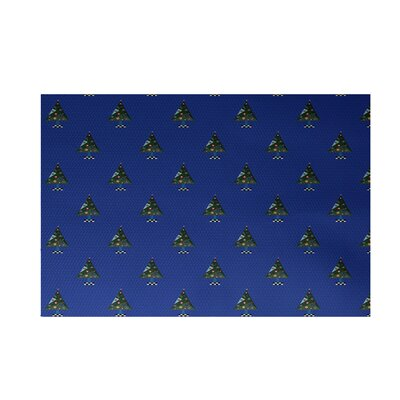 Crazy Christmas Decorative Holiday Print Royal Blue Indoor/Outdoor Area Rug Rug Size: 3 x 5