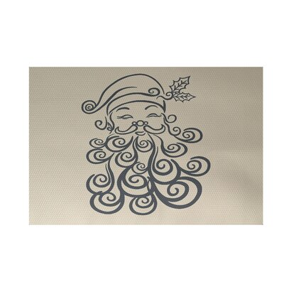 Santa Baby Decorative Holiday Print Gray Indoor/Outdoor Area Rug Rug Size: Rectangle 2' x 3'
