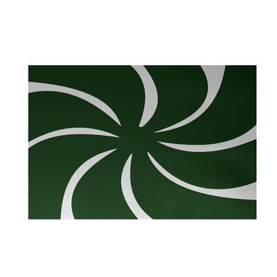 Decorative Holiday Geometric Print Dark Green Indoor/Outdoor Area Rug Rug Size: 4 x 6