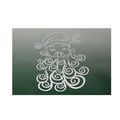 Santa Baby Decorative Holiday Ombre Print Dark Green Indoor/Outdoor Area Rug Rug Size: 2' x 3'