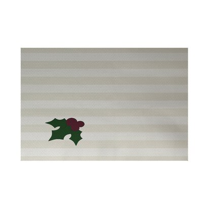 Holly Tones Decorative Holiday Stripe Print Ivory Cream Indoor/Outdoor Area Rug Rug Size: 4 x 6