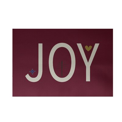 Joy Filled Season Decorative Holiday Word Print Cranberry Burgundy Indoor/Outdoor Area Rug Rug Size: Rectangle 3 x 5