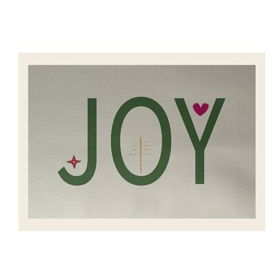 Joy Filled Season Decorative Holiday Word Print Ivory Cream Indoor/Outdoor Area Rug Rug Size: 2' x 3'