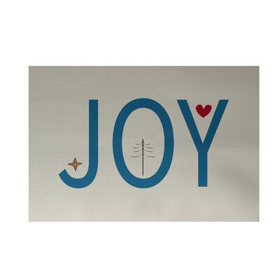 Joy Filled Season Decorative Holiday Word Print Ivory Cream Indoor/Outdoor Area Rug Rug Size: Rectangle 2 x 3