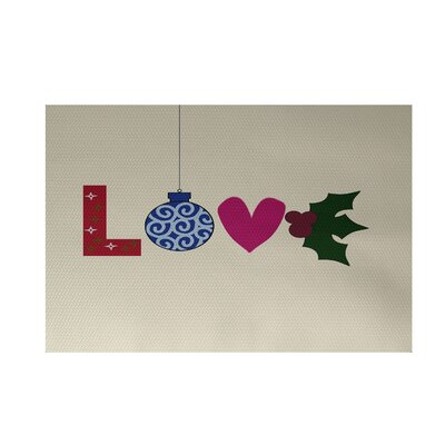 Love! Decorative Holiday Word Print Indoor/Outdoor Area Rug Rug Size: Rectangle 3 x 5