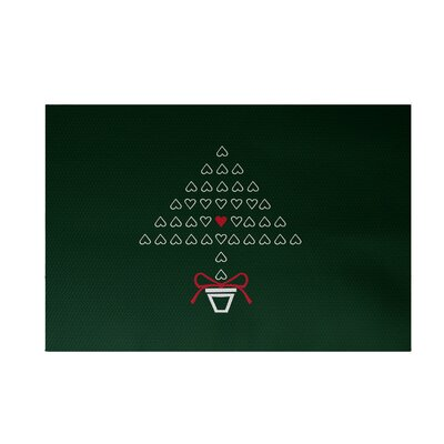 Hearty Holidays Decorative Holiday Print Dark Green Indoor/Outdoor Area Rug Rug Size: 2 x 3