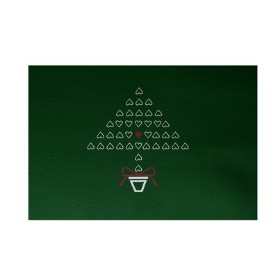 Hearty Holidays Decorative Holiday Print Dark Green Indoor/Outdoor Area Rug Rug Size: 4 x 6