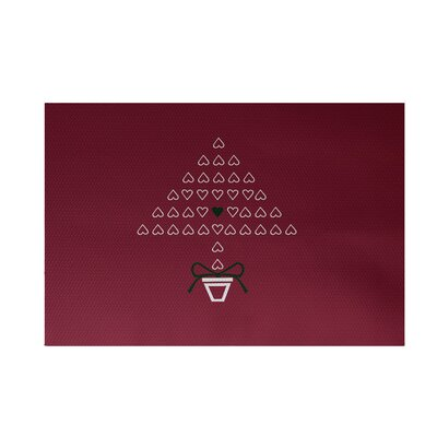 Hearty Holidays Decorative Holiday Print Cranberry Burgundy Indoor/Outdoor Area Rug Rug Size: 2 x 3