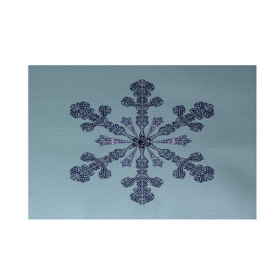 Vail Decorative Holiday Print Light Blue Indoor/Outdoor Area Rug Rug Size: Rectangle 3 x 5