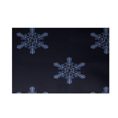 Flurries Decorative Holiday Print Navy Blue Indoor/Outdoor Area Rug Rug Size: Rectangle 2 x 3