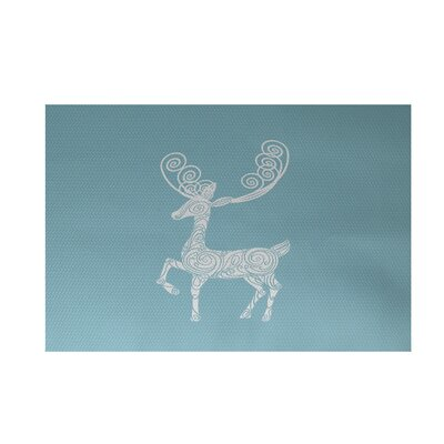 Deer Crossing Decorative Holiday Print Light Blue Indoor/Outdoor Area Rug Rug Size: 4 x 6