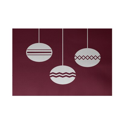 Geo-Bulbs Decorative Holiday Print Cranberry Burgundy Indoor/Outdoor Area Rug Rug Size: Rectangle 2 x 3