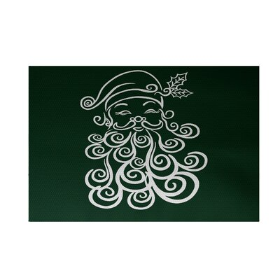 Santa Baby Decorative Holiday Print Dark Green Indoor/Outdoor Area Rug Rug Size: 4 x 6