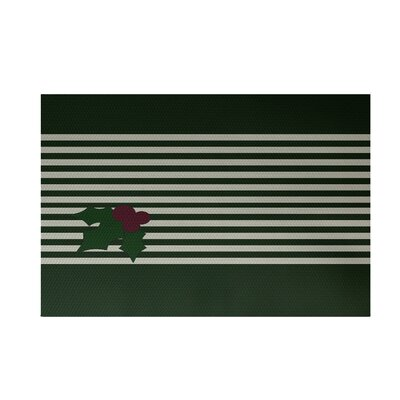 Holly Stripe Decorative Holiday Stripe Print Dark Green Indoor/Outdoor Area Rug Rug Size: Rectangle 3 x 5