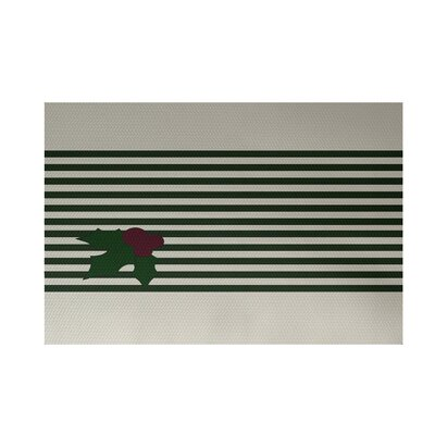 Holly Stripe Decorative Holiday Stripe Print Green Indoor/Outdoor Area Rug Rug Size: 3' x 5'