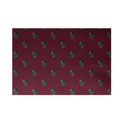 Crazy Christmas Decorative Holiday Print Cranberry Burgundy Indoor/Outdoor Area Rug Rug Size: 4 x 6