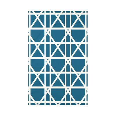 "Trellis Geometric Print Throw Blanket Size: 50"" H x 60"" W x 0.5"" D, Color: Teal"