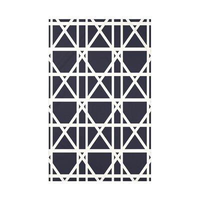 "Trellis Geometric Print Throw Blanket Size: 50"" H x 60"" W x 0.5"" D, Color: Navy Blue"