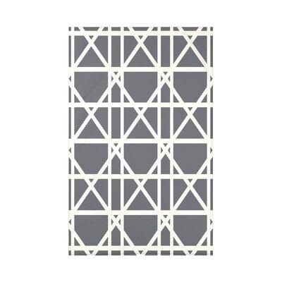 "Trellis Geometric Print Throw Blanket Size: 50"" H x 60"" W x 0.5"" D, Color: Gray"