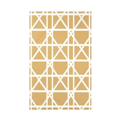 "Trellis Geometric Print Throw Blanket Size: 50"" H x 60"" W x 0.5"" D, Color: Gold"
