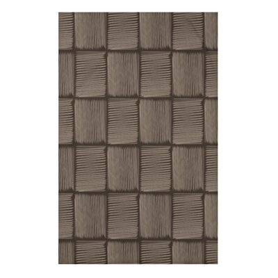 "Basketweave Geometric Print Throw Blanket Size: 50"" H x 60"" W x 0.5"" D, Color: Brown"