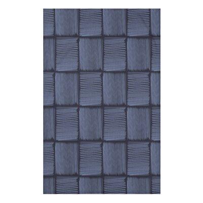 "Basketweave Geometric Print Throw Blanket Size: 50"" H x 60"" W x 0.5"" D, Color: Blue"