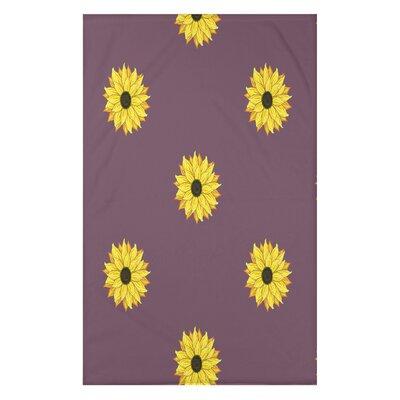 "Sunflower Frenzy Flower Print Throw Blanket Size: 50"" H x 60"" W x 0.5"" D, Color: Purple"