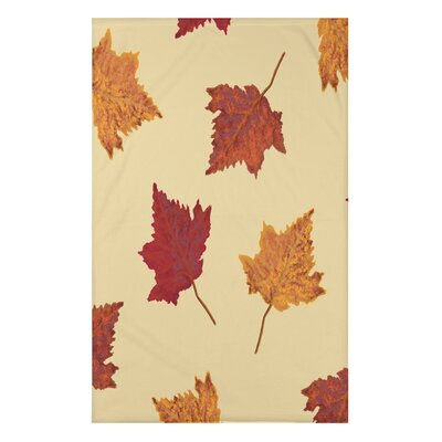 """Dancing Leaves Flower Print Throw Blanket Size: 50"""" H x 60"""" W x 0.5"""" D, Color: Yellow"""