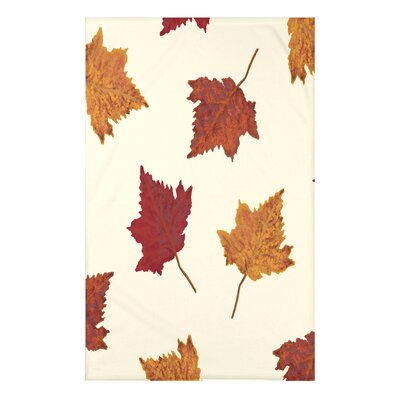 """Dancing Leaves Flower Print Throw Blanket Size: 50"""" H x 60"""" W x 0.5"""" D, Color: Cream"""