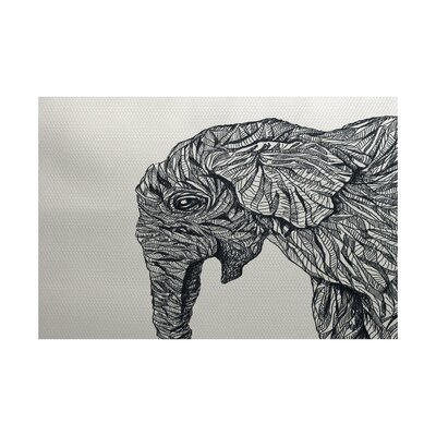 Safari Print Black Indoor/Outdoor Area Rug Rug Size: 5 x 7