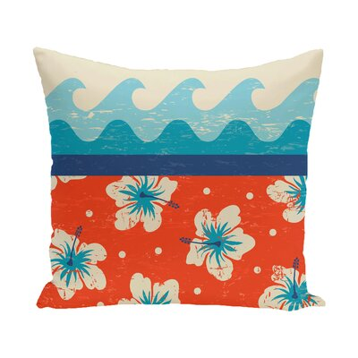 Golden Beach Floral Outdoor Throw Pillow Size: 18 H x 18 W, Color: Orange