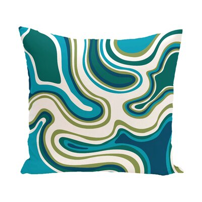 Beach Vacation Agate Geometric Outdoor Throw Pillow Color: Teal