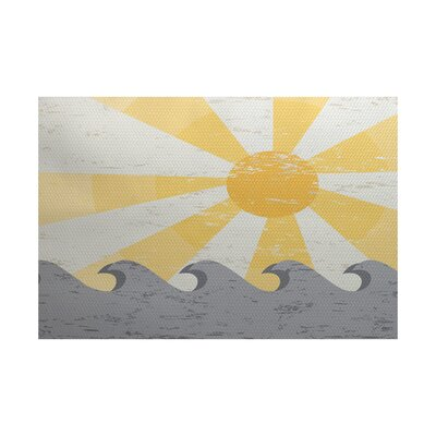 Golden Beach Yellow/Gray Indoor/Outdoor Area Rug Rug Size: 2 x 3