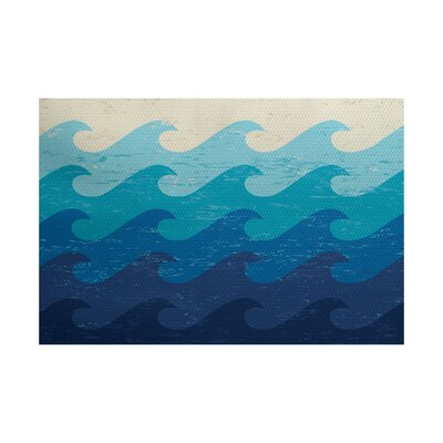 Golden Beach Blue Indoor Area Rug Rug Size: 2 x 3