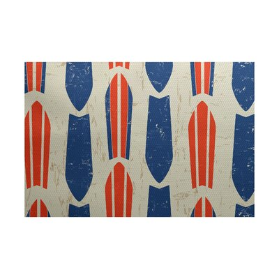 Pembrook Orange/Blue Indoor/Outdoor Area Rug Rug Size: 4 x 6