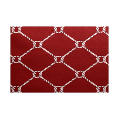 Bridgeport Ahoy Red Indoor/Outdoor Area Rug Rug Size: 3 x 5