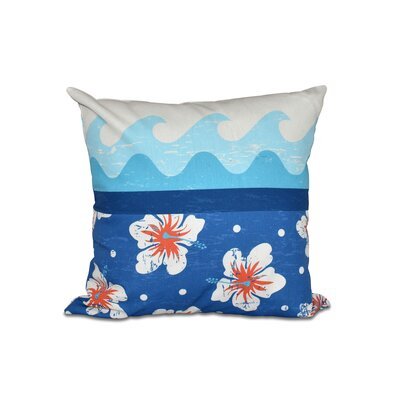 Golden Beach Floral Outdoor Throw Pillow Size: 18 H x 18 W, Color: Blue