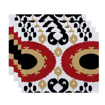 Oliver Boho Geometric Print Placemat Color: Coral