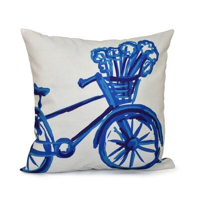 La Bicicleta Geometric Print Throw Pillow Size: 16 H x 16 W x 1 D, Color: Dazzling Blue