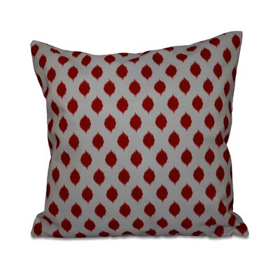 Cop-Ikat Geometric Print Throw Pillow Size: 26 H x 26 W x 1 D, Color: Red
