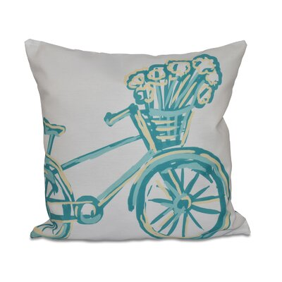 La Bicicleta Geometric Print Throw Pillow Size: 16 H x 16 W x 1 D, Color: Jade