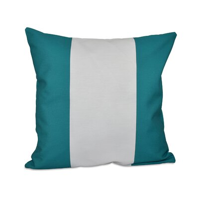 Big Stripe Vertical Faux Down Fill Throw Pillow Size: 16 H x 16 W, Color: Lake Blue