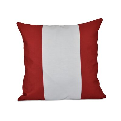 Big Stripe Vertical Faux Down Fill Throw Pillow Size: 16 H x 16 W, Color: Red