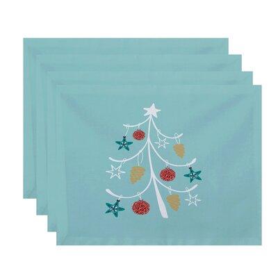 Coastal Christmas Pinecone Tree Geometric Print Placemat Color: Aqua