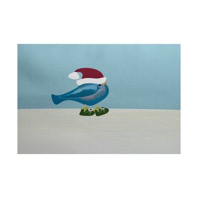 Christmass Blue Indoor/Outdoor Area Rug Rug Size: 5 x 7