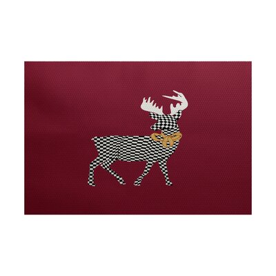 Christmass Red Indoor/Outdoor Area Rug Rug Size: 5 x 7