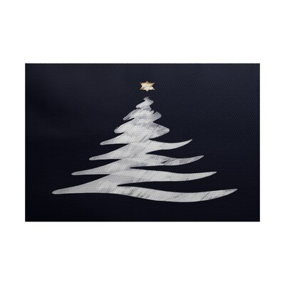 Christmas Blue Indoor/Outdoor Area Rug Rug Size: 4 x 6